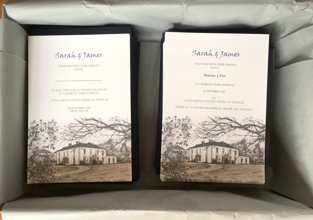 Bespoke wedding invitations by Irish artist Gilly Cullen