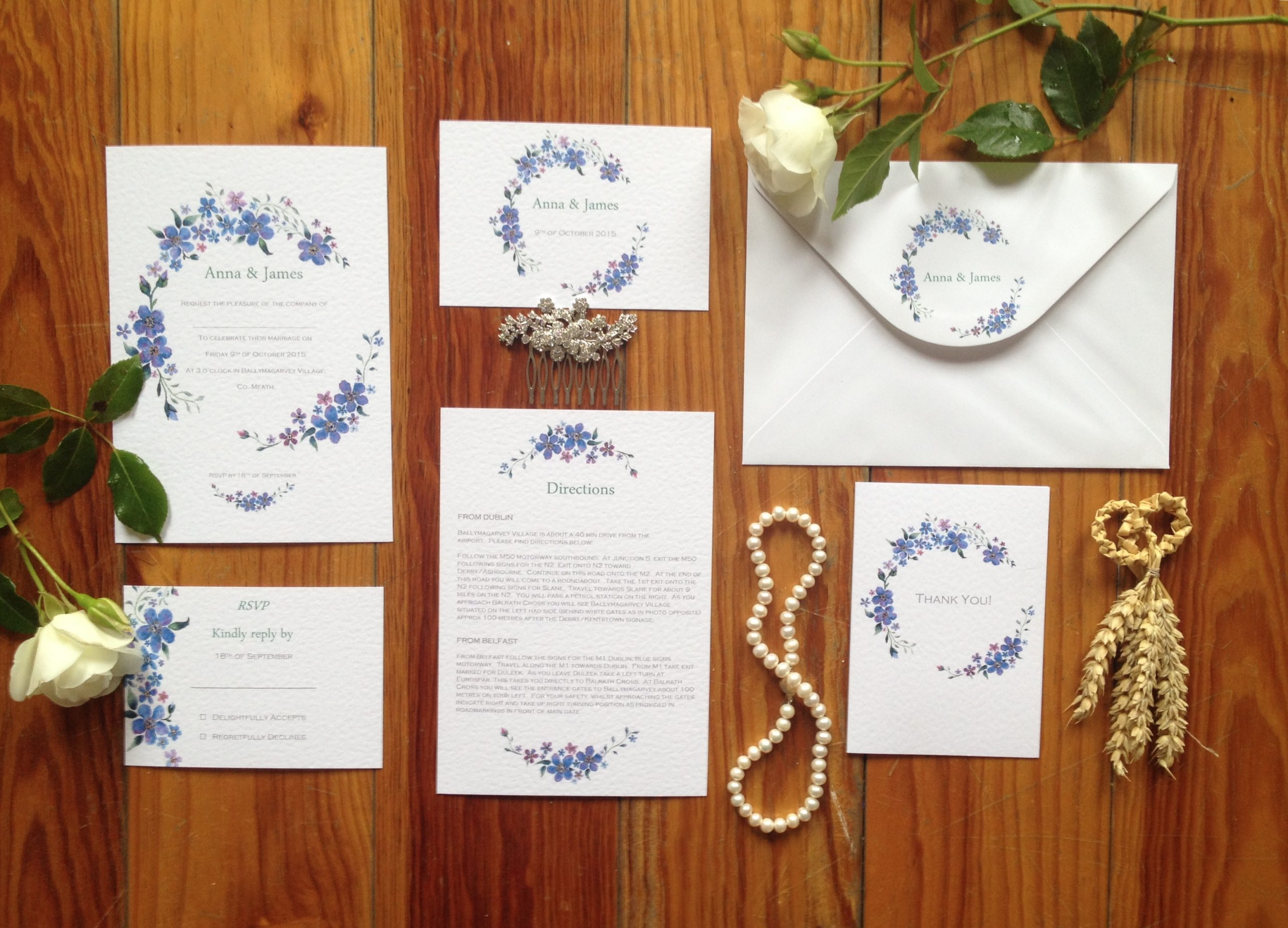 Anna and James bespoke wedding stationery pack by Gilly Cullen